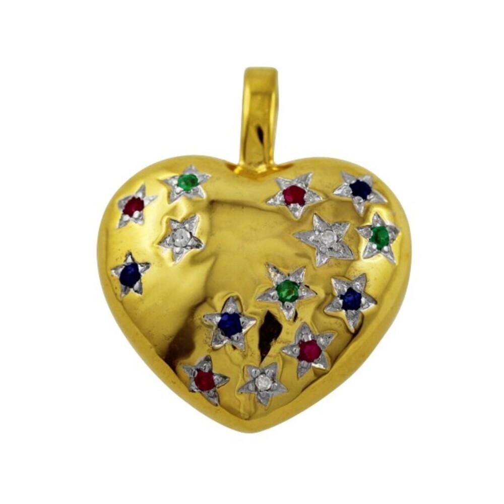 Anhänger Herzanhänger Gold 333 roter Rubin, blauer Saphir, grüner Smaragd Edelstein weißen Diamanten 0,03ct W/P_01