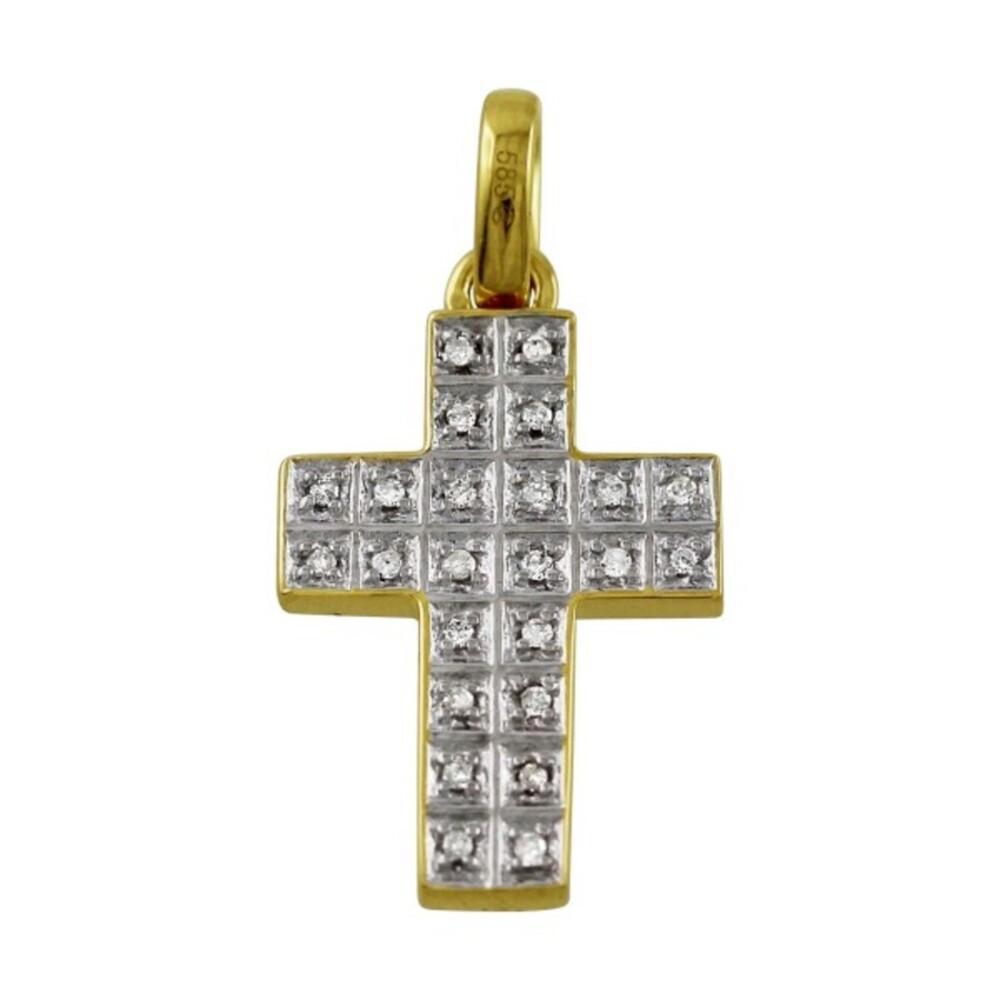 Kreuz Anhänger Weißgold Gelb Gold 585 Diamant Brillant 0,12ct W/P Diamantkreuz_1