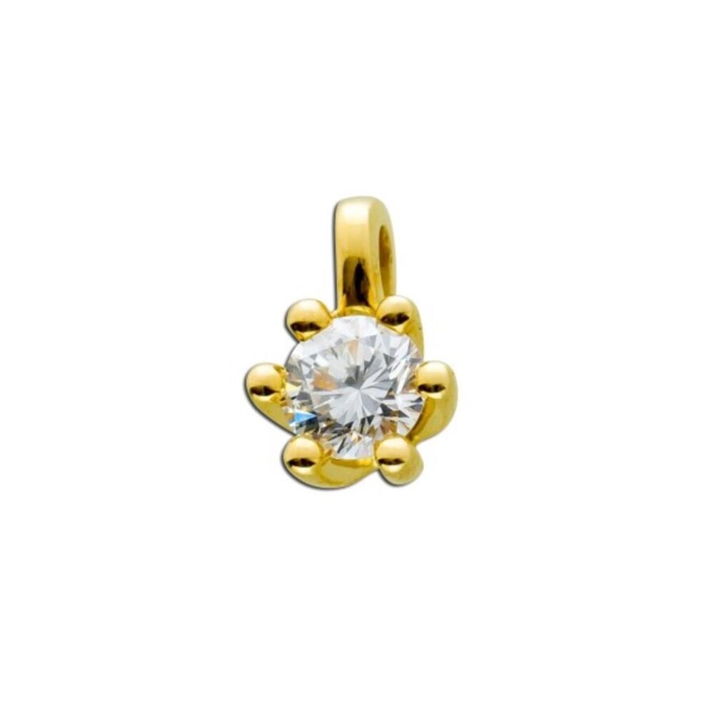 Diamant Anhänger Gold 585 14kt Solitär Brillant 0,50ct Brillantanhänger Krappenfassung Goldanhänger_03