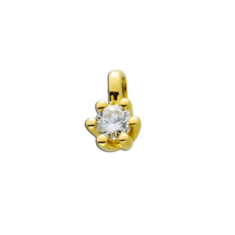 Diamant Anhänger Gold 585 14kt Solitär Brillant 0,25ct Diamantanhänger Krappenfassung Goldanhänger_02