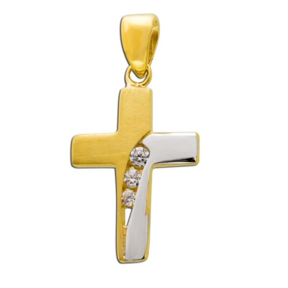 Kreuzanhänger Weißgold Gelb Gold 333 Zirkonia Klar_01