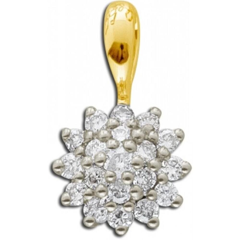 Brillant Kettenannhänger Gelb Gold 585 14 Karat Diamant 0,24ct W/SI Diamantschmuck_1