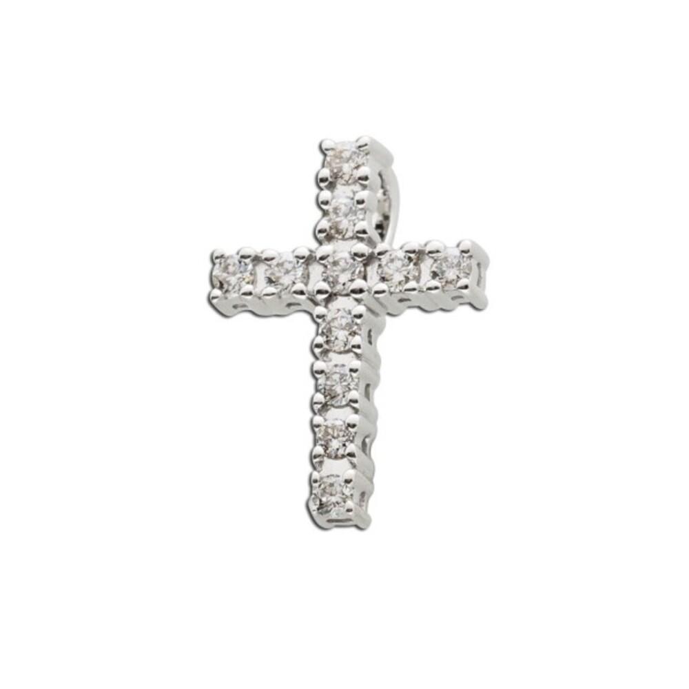 Brillant Kreuz Anhänger Weissgold 585  0,18ct W/SI Diamantschmuck_1