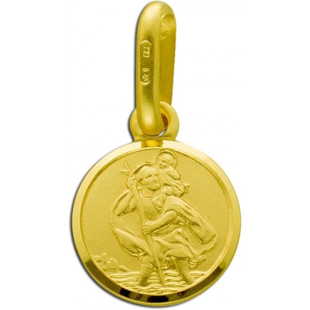 UNO A ERRE runder Christopherus Anhänger Gelbgold 375 Rückseite gravierbar 1