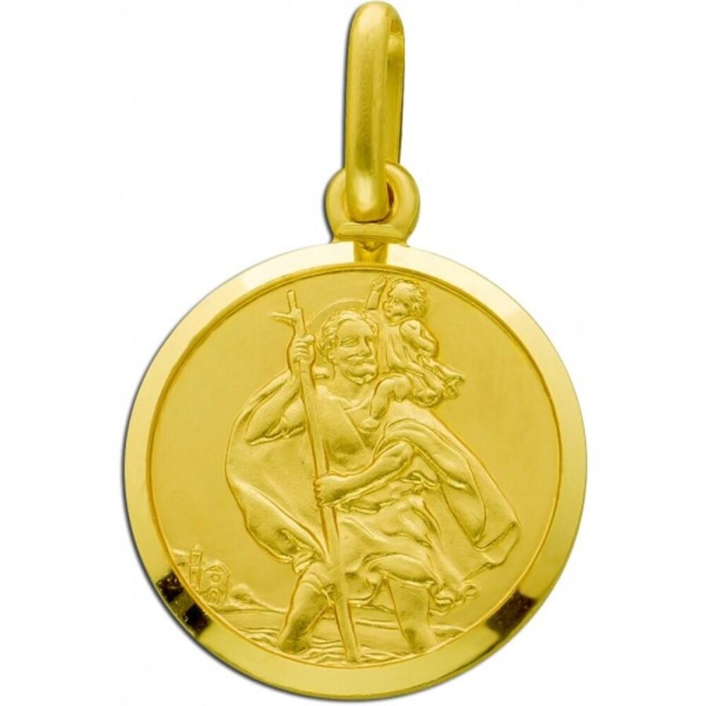 UNO A ERRE runder Gold Christopherus Anhänger Gelbgold 375 Rückseite gravierbar 1