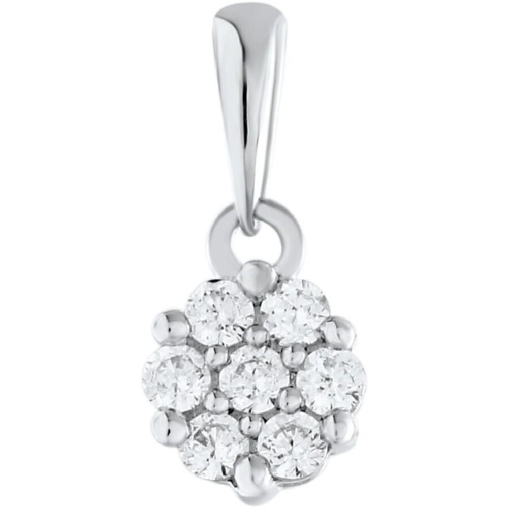 Anhänger Weissgold 375 Diamant Brillanten zus. 0,06ct W/I1 Krappen gefasst