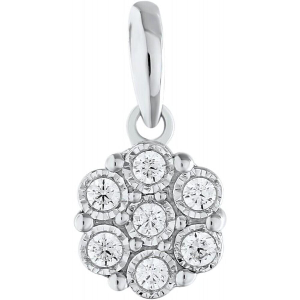 Anhänger Weissgold 375 Diamant Brillanten zus. 0,07ct W/I1 Zargen gefasst