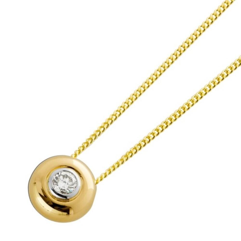 Solitär Anhänger Gelb Weissgold 585 Brillant Diamant Kettenanhänger 0,30ct M/SI 11mm
