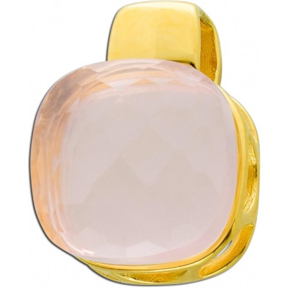 Rosenquarz Edelstein Halsketten Anhänger Gelbgold 375 9 Karat 14x10mm