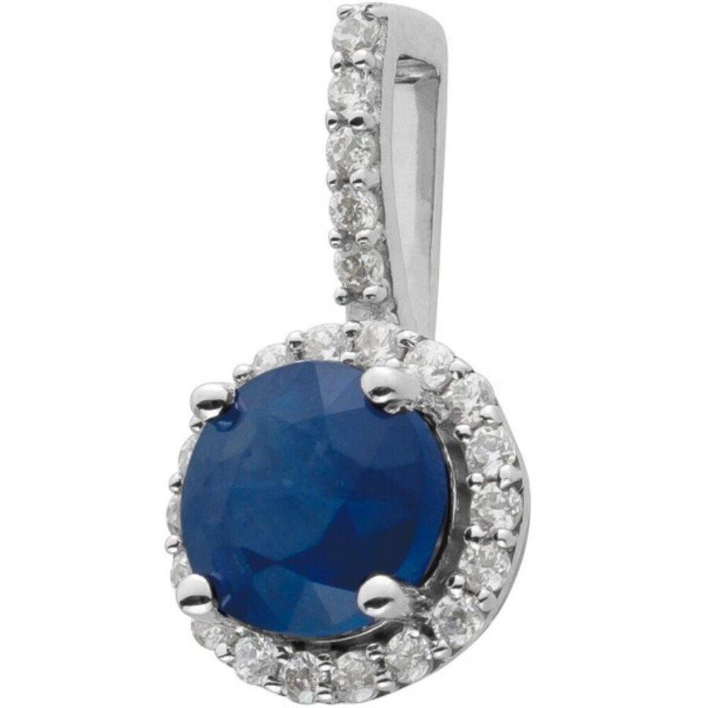 Diamant Anhänger Weissgold 14 Karat 23 Diamanten zus. 0,13ct W/SI 1 runder Saphir Edelstein Iced out