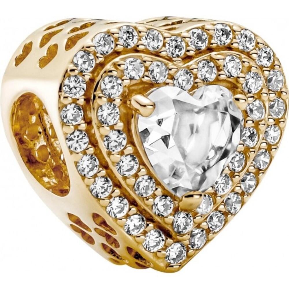 Pandora 14K Gold Sparkling Levelled Hearts 759517C01 Charm Gold 585