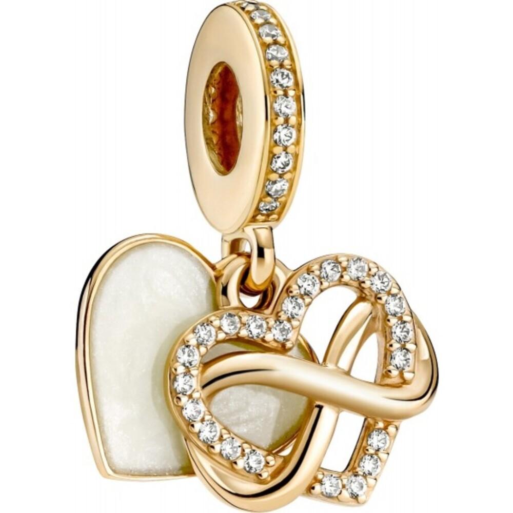 Pandora Gold 759516C01 Charm Dangle Sparkling Infinity Heart 14Karat Gold, Clear Cubic Zirkonia, Shimmering Enamel