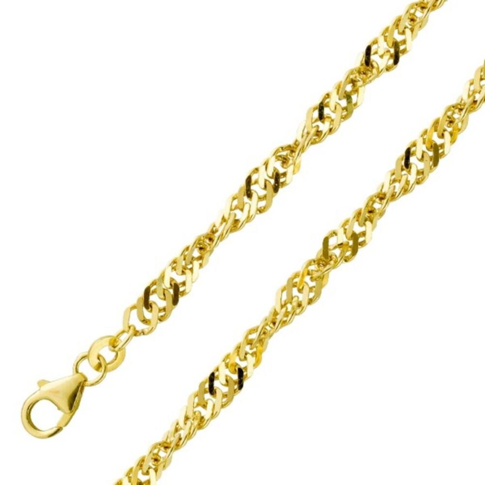 Goldkette Goldarmband Singapurkette 3,6mm Gelbgold 333 massiv poliert 18cm 42cm 45cm 50cm