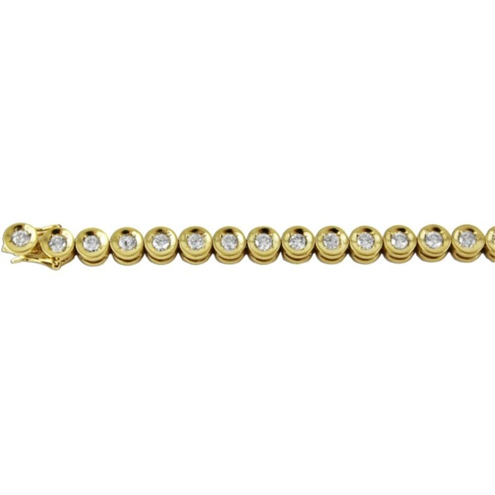 Goldarmband Gelb Gold 750 Tennisarmband Diamant Brillant Weiß 3,00ct W/P 18,5cm_1