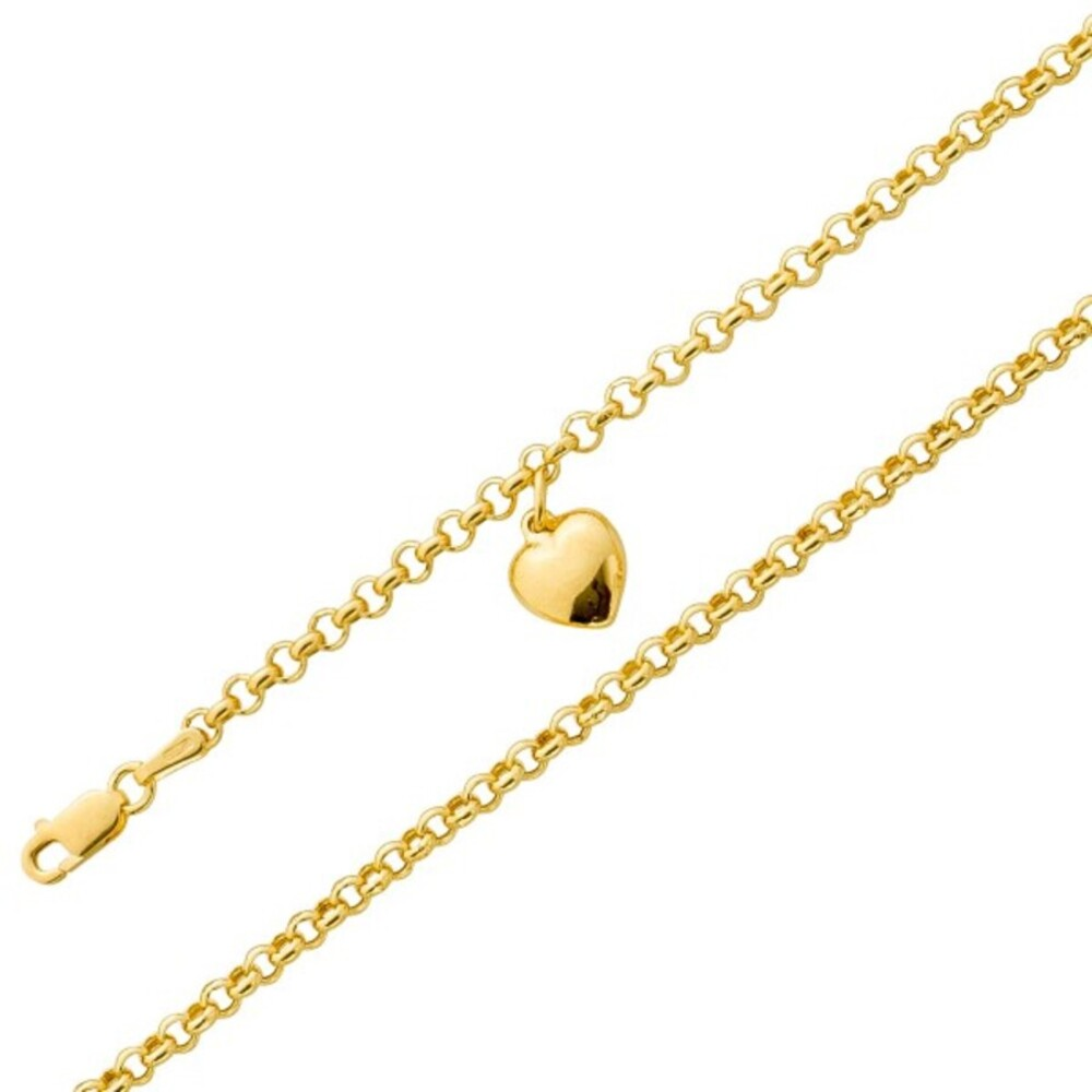 UNO A ERRE Fußkette Herzanhänger Gelb Gold 375