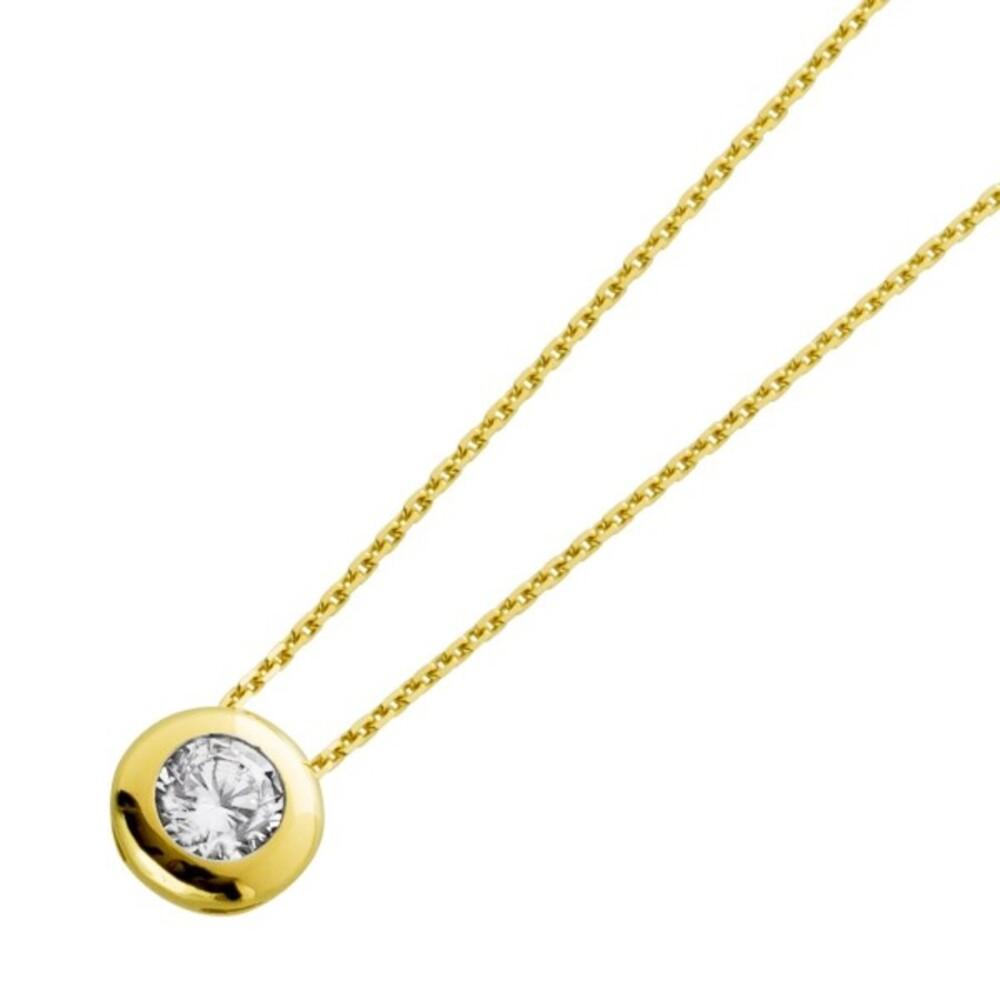Solitär Halskette Collier Diamantlook Gelbgold 333 Zirkonia zargengefasst 43cm_0