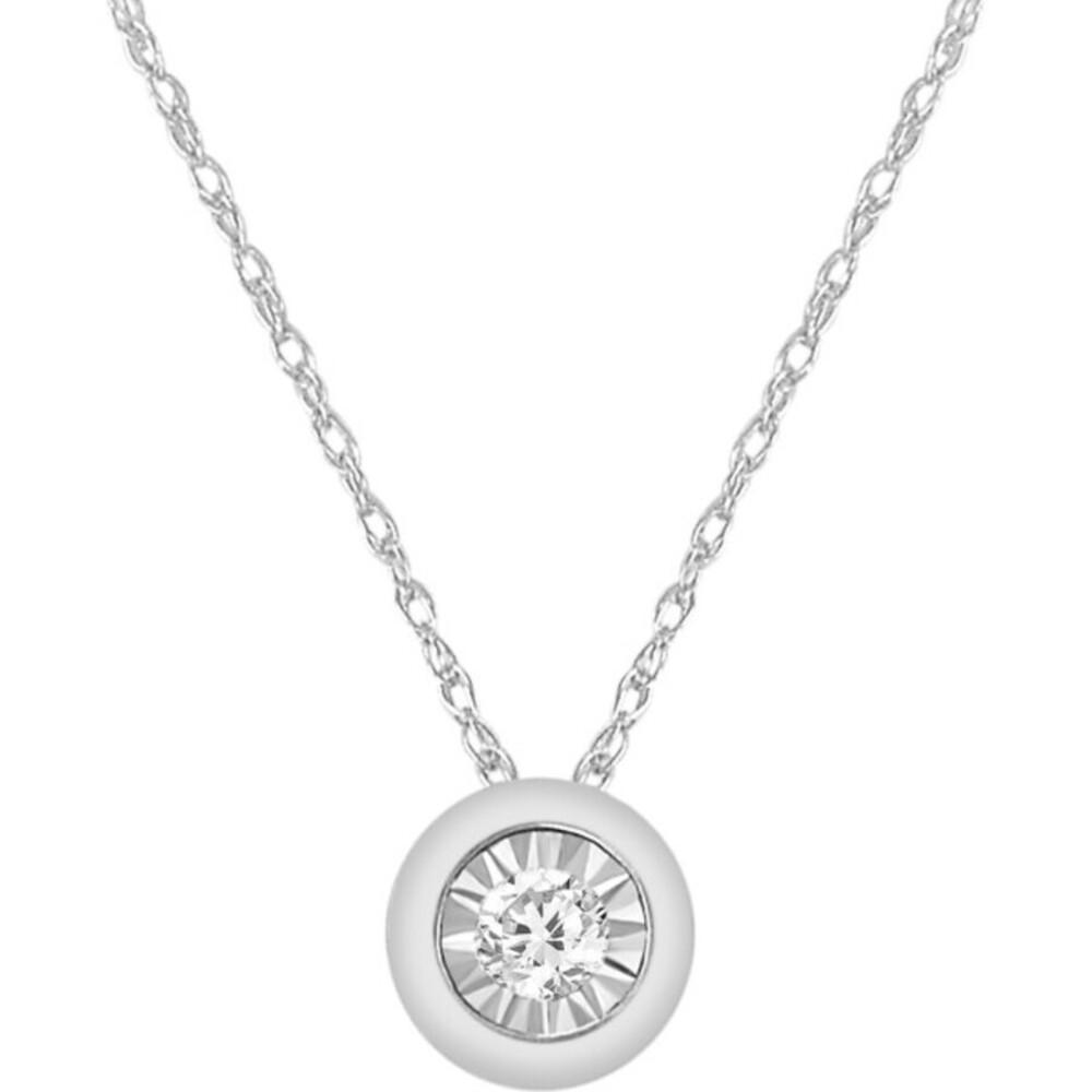 Solitär Collier Halskette Weissgold 375 Diamant Brillant 0,08ct W/I1 40+5cm