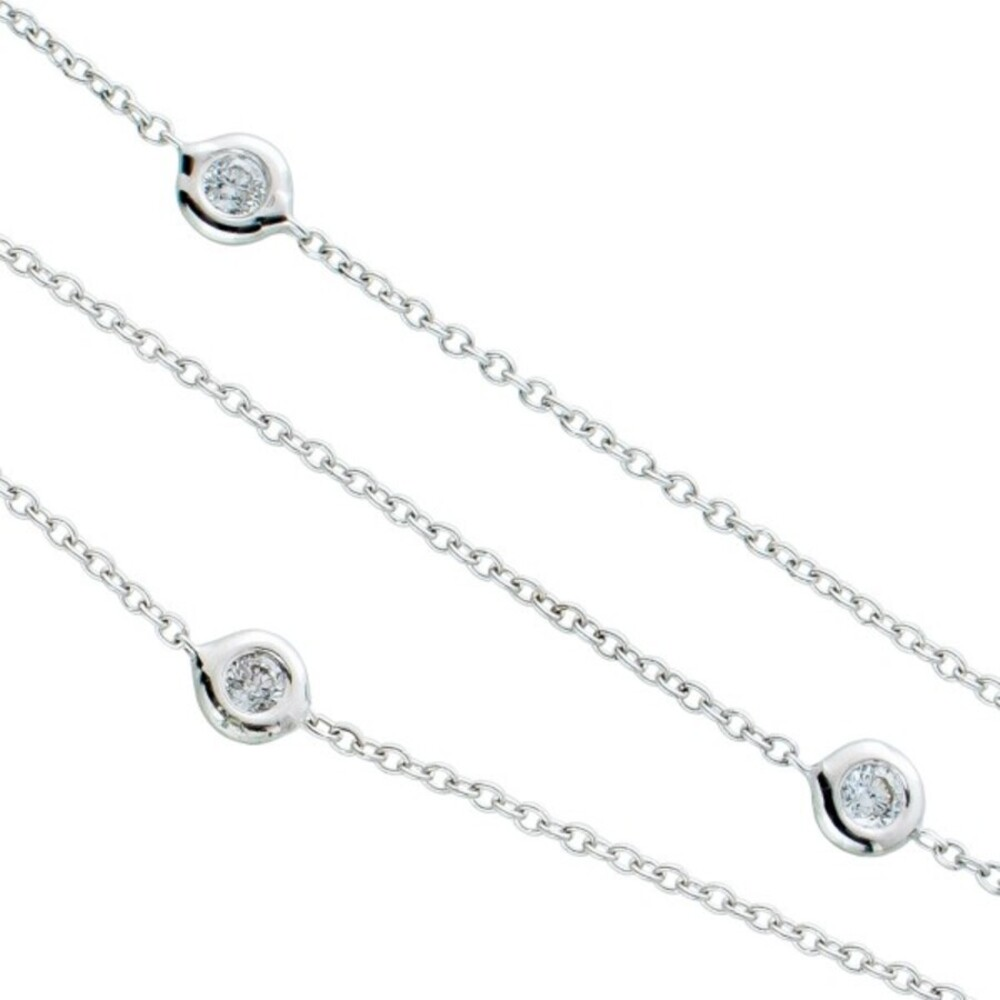 Brillanten Collier Halskette Weissgold 750 Ankerkette weisse Diamanten zus. 0,15ct W/P1 Zargengefasst 45cm