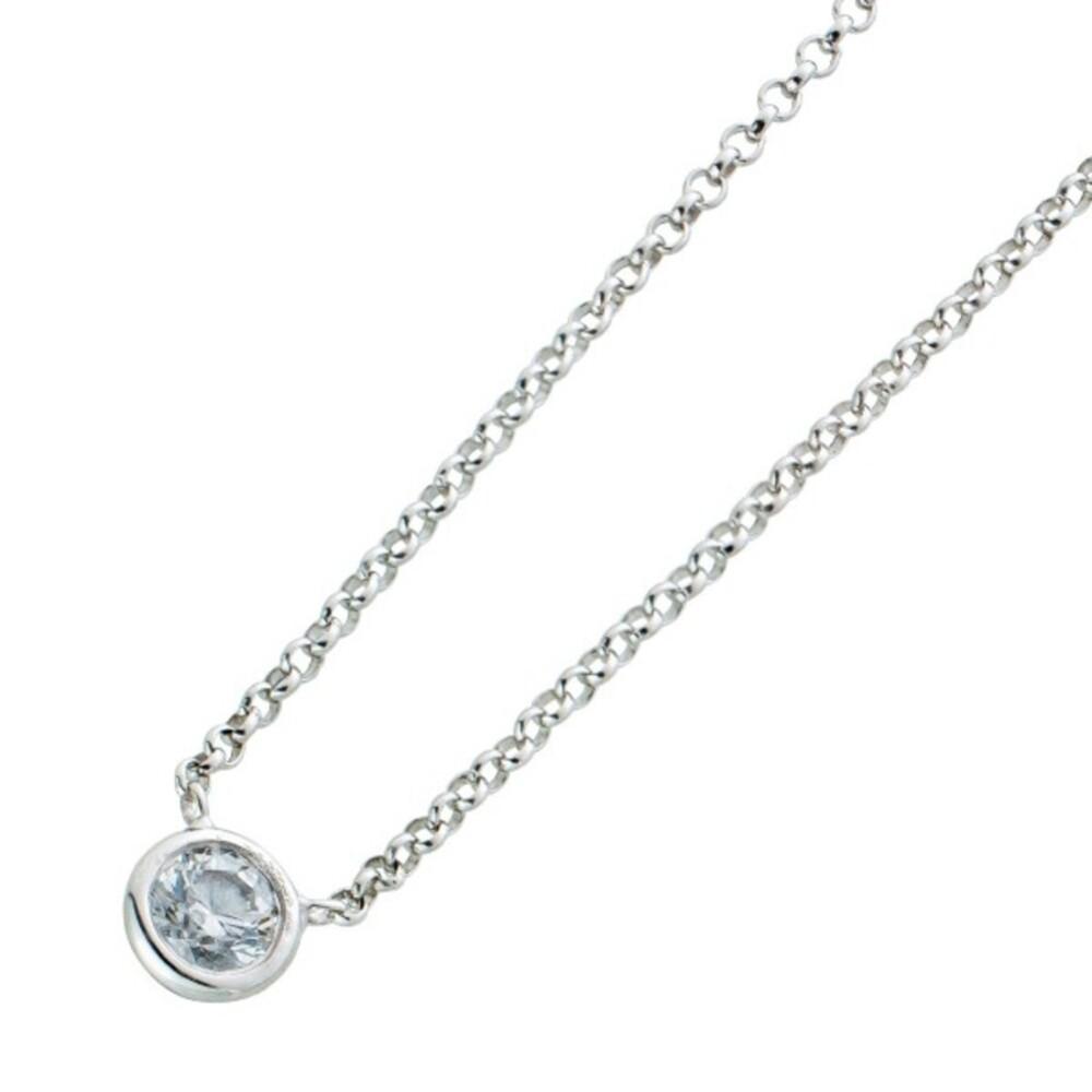 Diamant Halskette Solitär Collier Weissgold 750 Brillant 0,15ct W/P1-P2  Zargengefasst Damen
