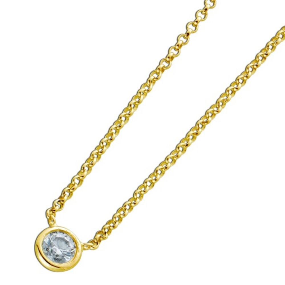 Diamant Halskette Solitär Collier Gelb Gold 750 Brillant 0,15ct W/P1-P2  Zargengefasst Damen