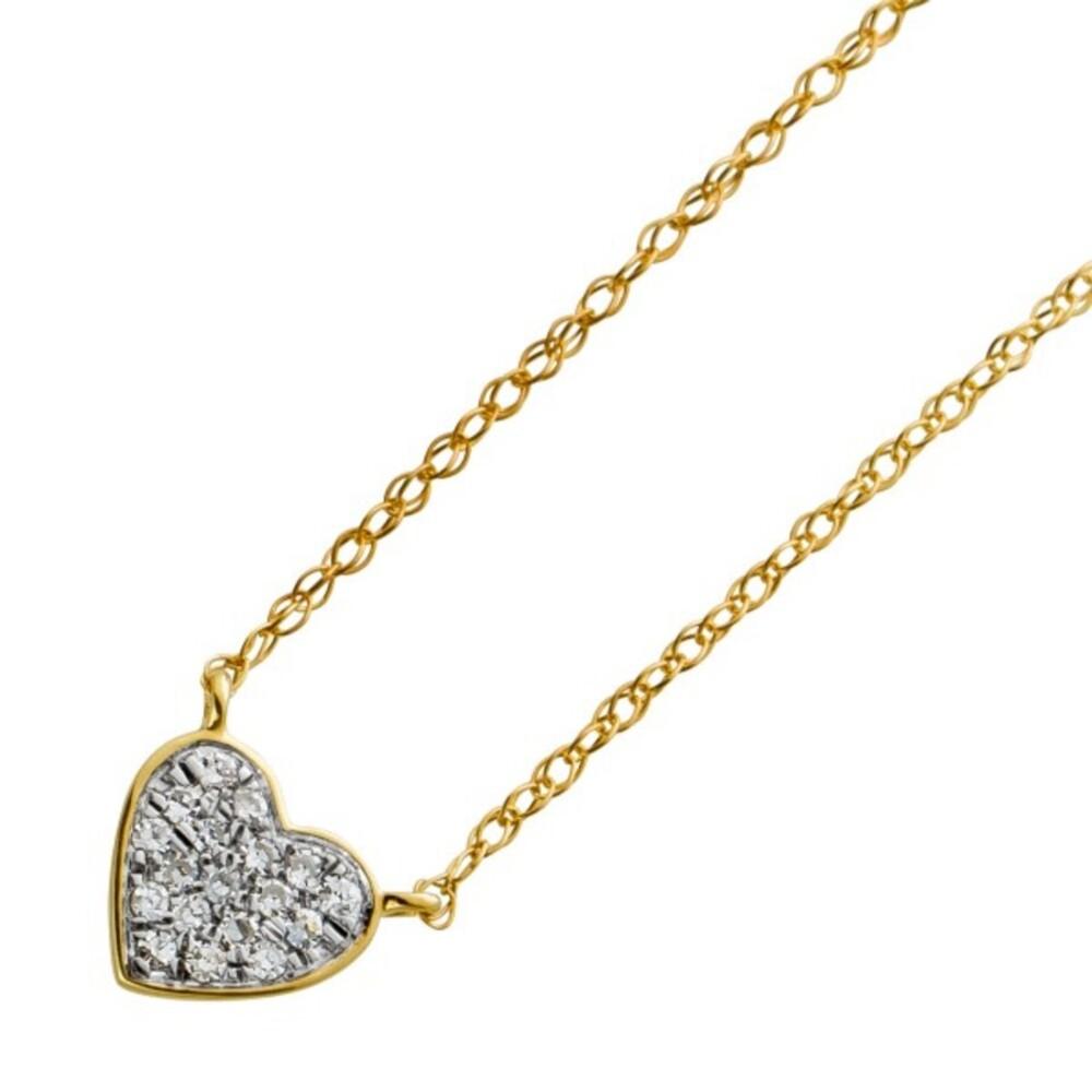 Herzkette Gelbgold 585 mit 18 Diamanten 8/8 W/SI zus.0,05ct 46cm