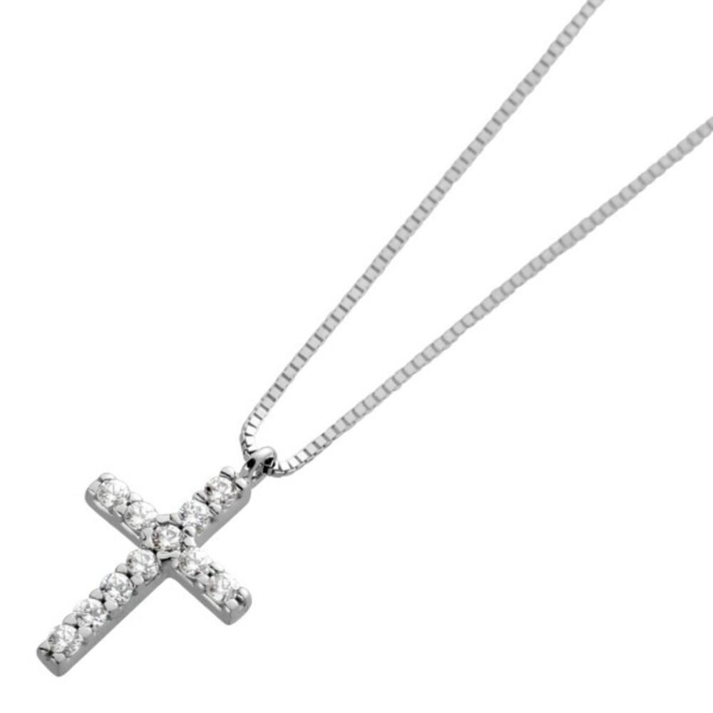 Kette Weissgold 375 mit Kreuz Anhänger mit Zirkonia 42cm Länge