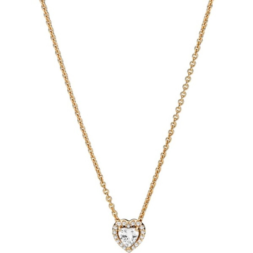 Pandora Gold 359520C01-45 Nacklace with pendant, Elevated Heart, 14k Gold, Clear Cubic Zirkonia, 45cm