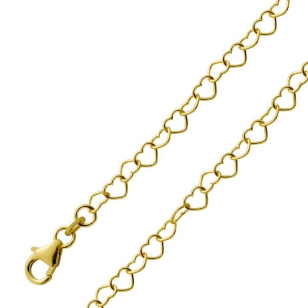 Herzkette Fusskette Fußkette Gelbgold 333 8 Karat Beinschmuck Fußschmuck Breite 3,5mm 25cm
