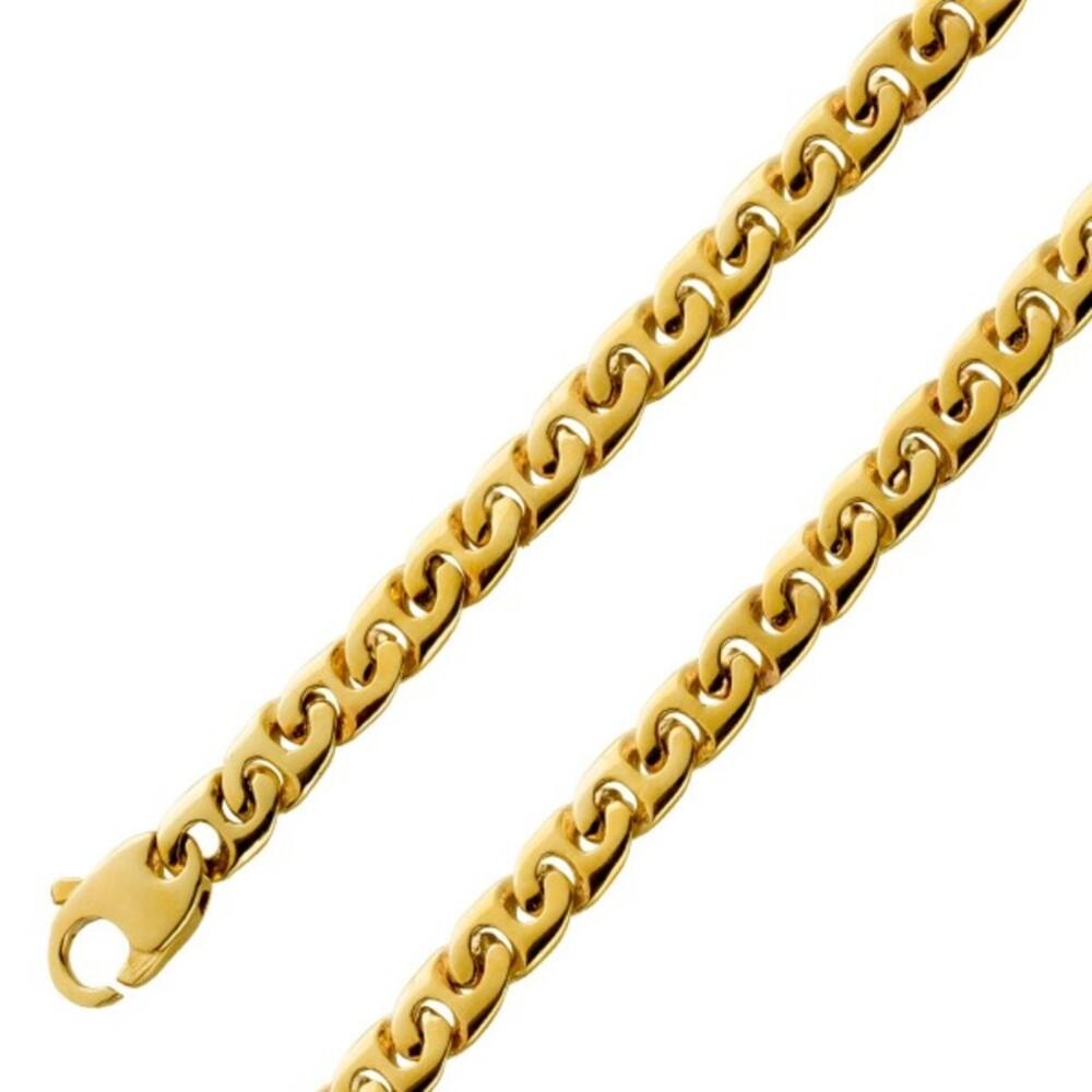 Gliederkette 5mm Gold 585 14 Karat Goldkette Goldarmband massiv Gelbgold Gliederarmband Breite 5mm, 45cm 19cm