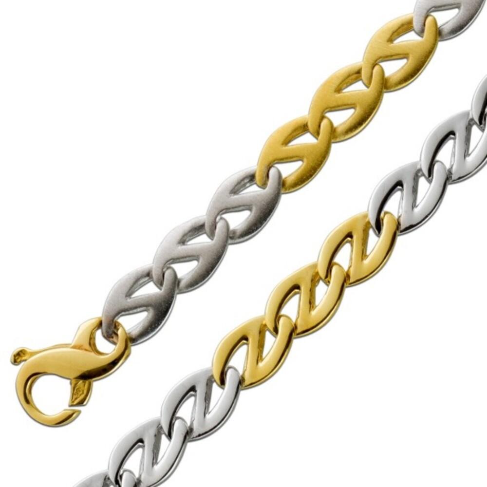 Bicolor Gliederkette 6,2mm Armband Gelbgold Weißgold Goldkette 585 14 Karat Wendekette beidseitig tragbar mattiert poliert massiv 19cm 45cm