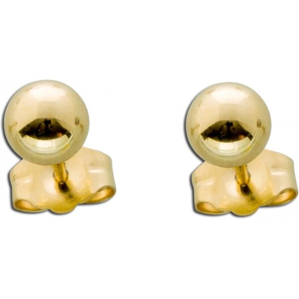 Ohrstecker Gelb Gold 585 Kugelohrringe