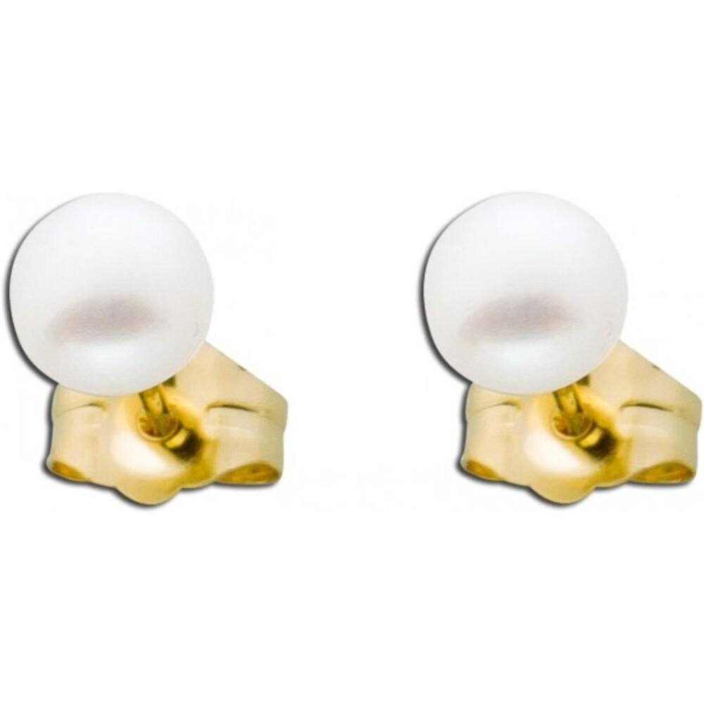 Perlen Ohrstecker weiße Gelb Gold 585 Süßwasserzuchtperlen_01