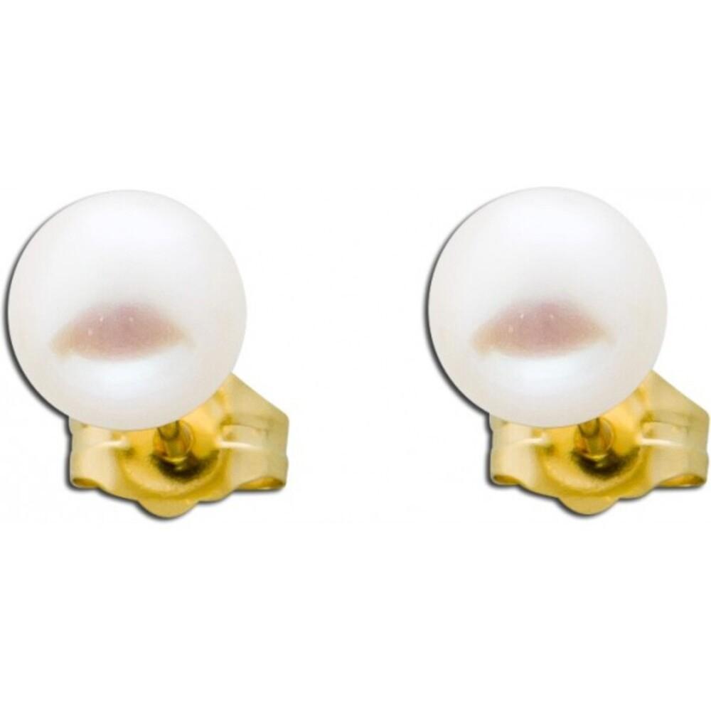 Ohrringe - Ohrstecker Gold 585 weiße Süßwasserzuchtperlen Perlenschmuck