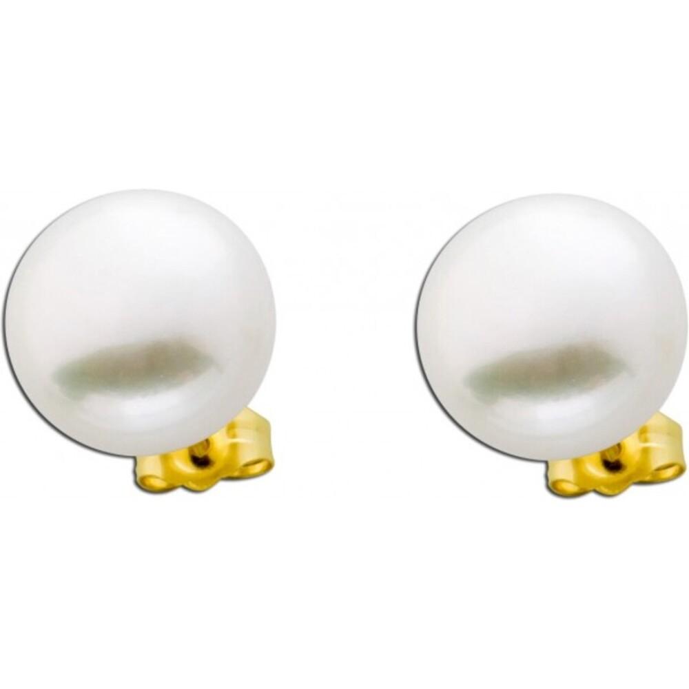 Große Perlenohrringe weiß Gelb Gold 585 Süßwasserzuchtperlen _01