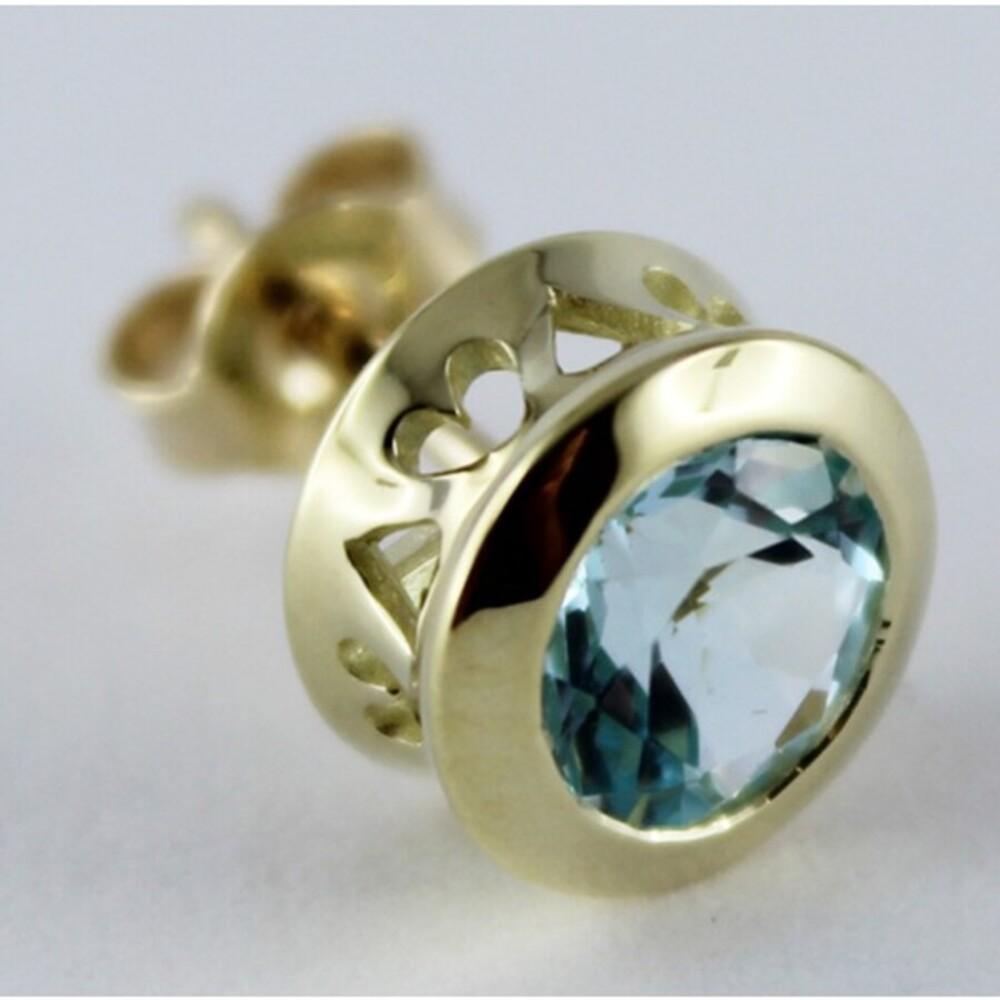 Ohrstecker Ohrringe Gold 333/- Blautopas Edelsteinschmuck_01