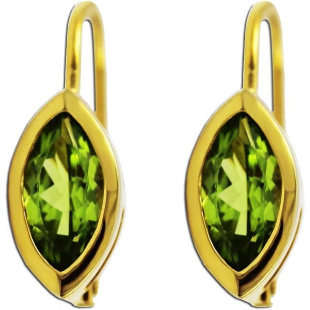 Ohrringe Ohrhänger Gold 333 grüner Peridot Edelstein Ohrschmuck _01