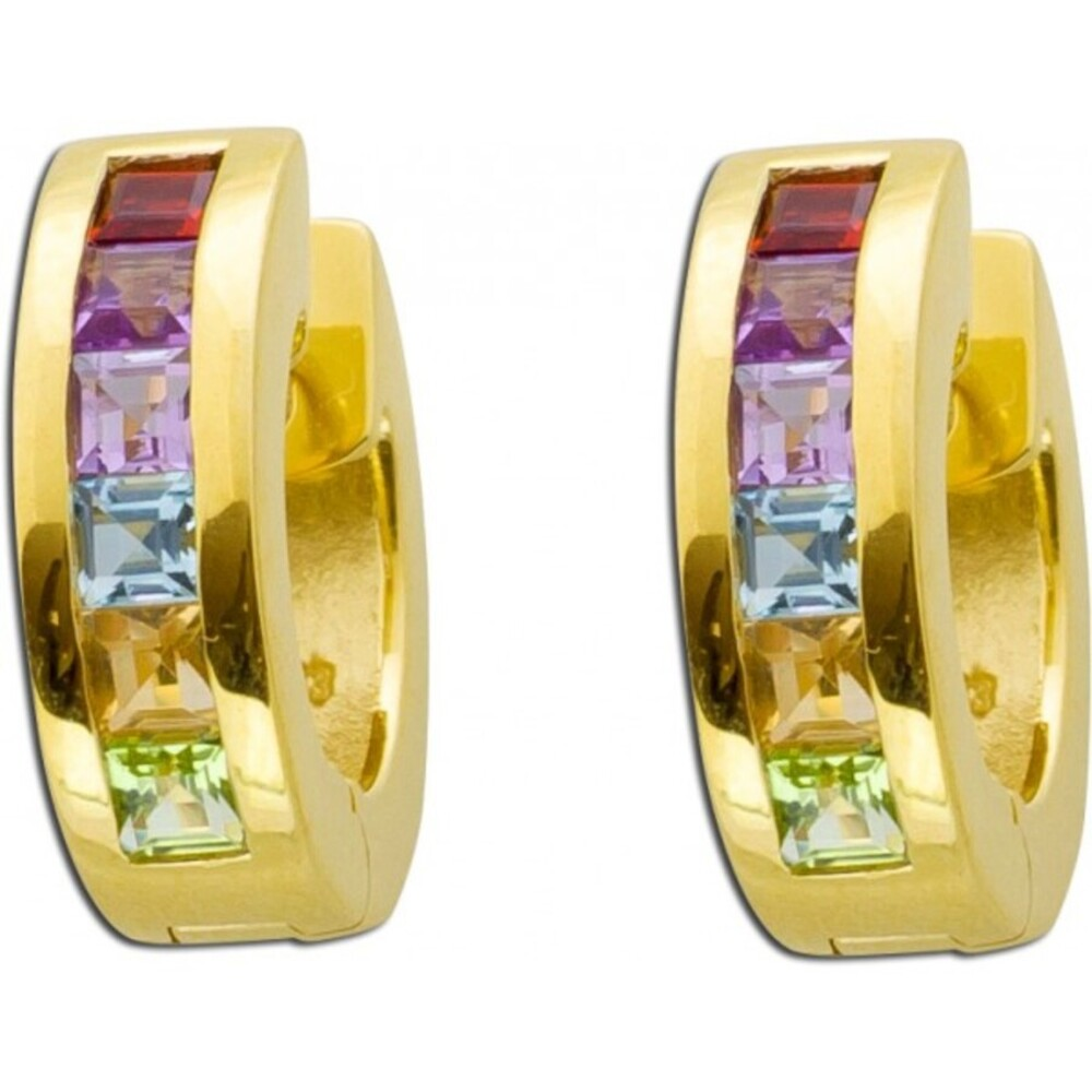 Creolen Gold Ohrringe Klappcreolen Gold 333 Granat Amethyst Blautopas Citrin Peridot bunter Edelstein Ohrschmuck