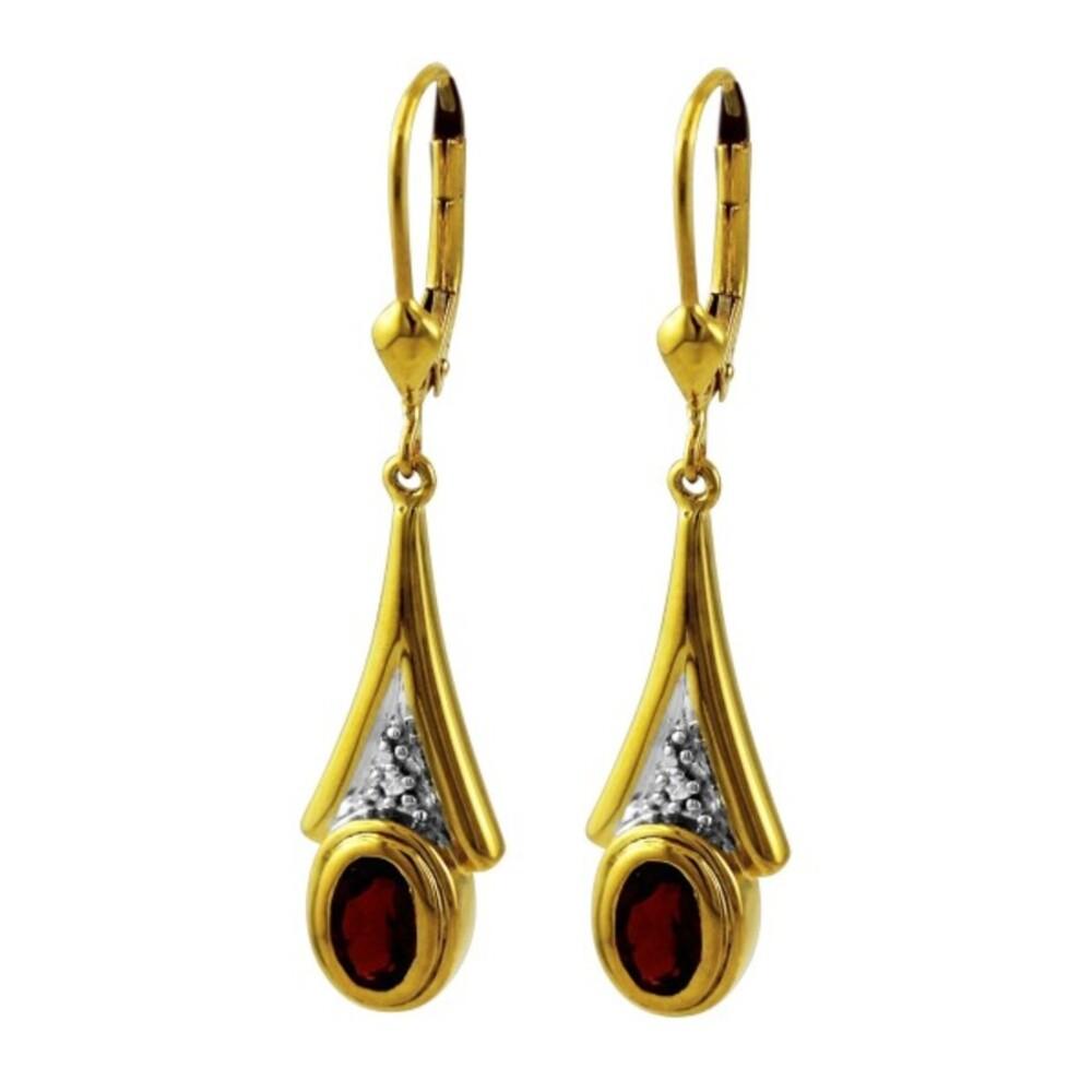 Ohrringe Ohrhänger Gelbgold Weißgold 333 Edelstein roter Granat Edelsteinschmuck_01