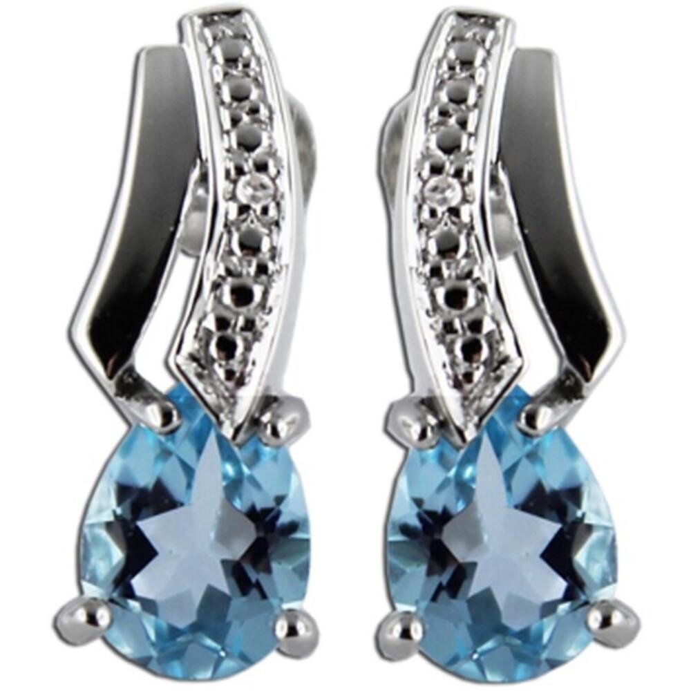 Ohrstecker Weißgold 333/- Edelstein Ohrringe Blautopas weißen Diamanten 0,006ct W/P _1