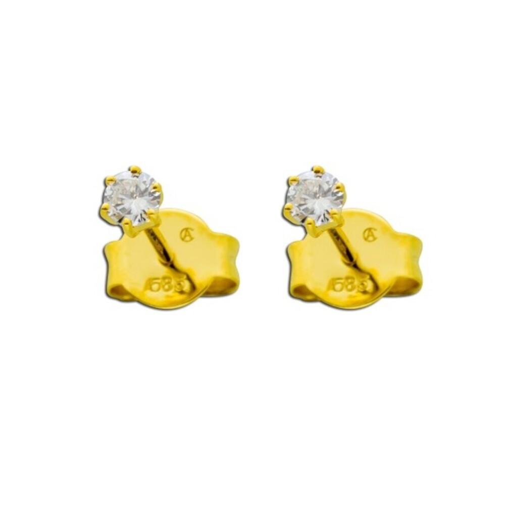Solitär Ohrringe Diamant Brillant Ohrstecker Gold 585 0,15 Carat TW / Lupenrein _01