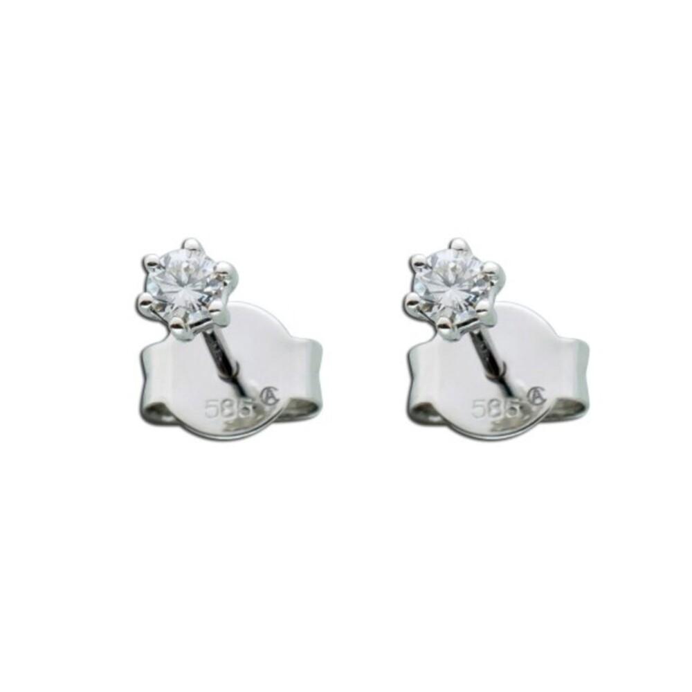 Brillant Diamant Ohrringe Solitär Ohrstecker Weißgold 585 14 Kt 0,20 Carat TW / LP Lupenrein_01