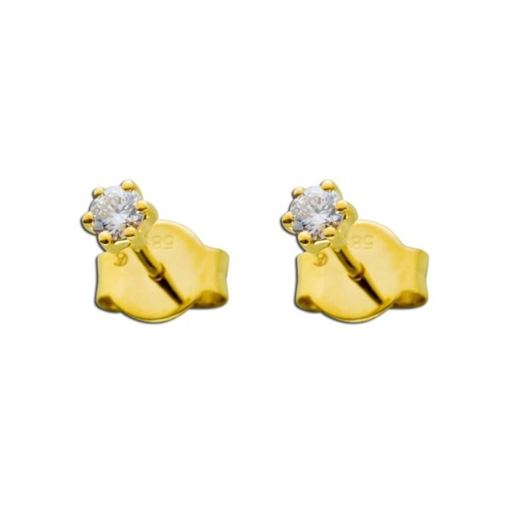Solitär Ohrstecker Diamant Brillant Goldohrringe Gold 585 0,20 Carat feines Weiß Lupenrein _01