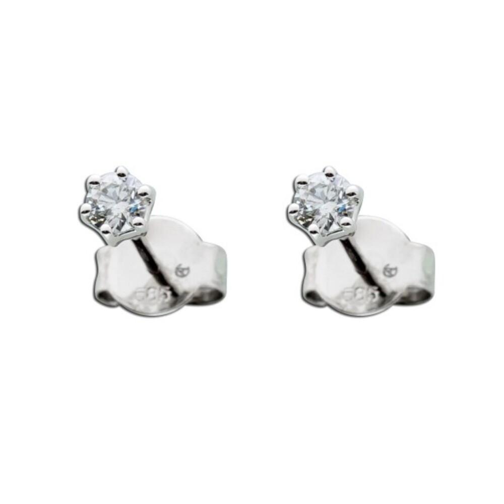 Solitär Diamant Ohrringe Brillant Ohrstecker Weißgold 585 14 Kt 0,25 Carat TW / LP Lupenrein_01