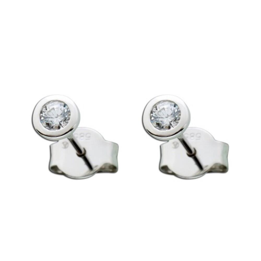 14 Karat Ohrringe Diamant Brillant Solitär Ohrstecker Weißgold 585  0,25 Carat TW / LP Lupenrein_01