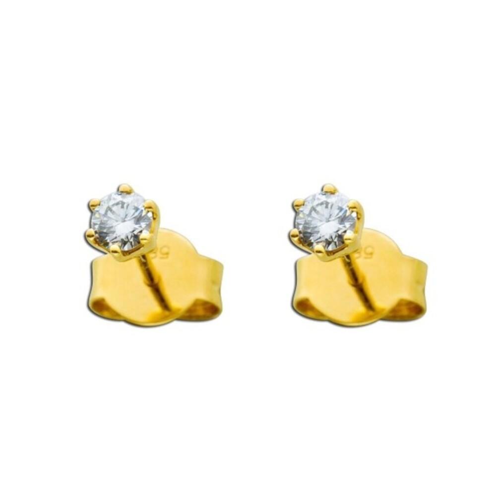 Brillant Ohrringe Solitär Ohrstecker Diamant Gelbgold 585 0,25 Carat TW / Lupenrein _01