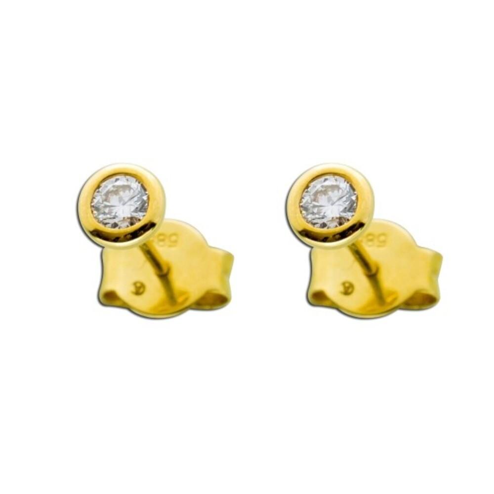 Solitär Ohrringe Ohrstecker Brillant Diamant Gold 585 0,25 Carat TW / LP Lupenrein_01