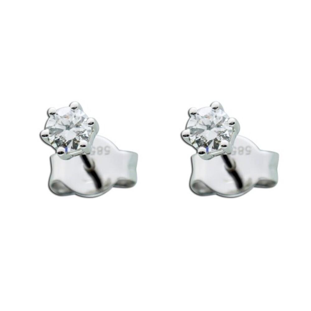 Diamantohrringe  Solitär Ohrstecker  Brillantohrstecker Weißgold 585 0,35 Carat TW / Lupenrein_01