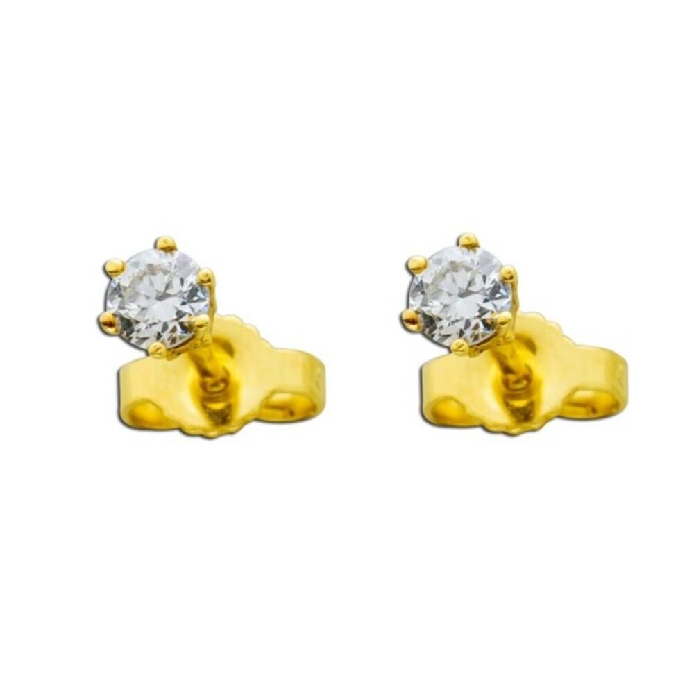 Diamantohrringe Brillant Solitär Ohrstecker Gelbgold 585 14Kt 0,35 Carat feines Weiß Lupenrein_01