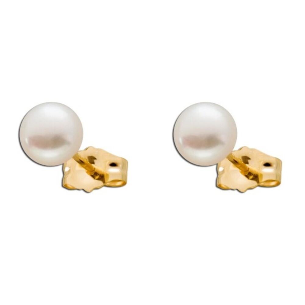 Perlen Ohrringe Gelb Gold 375  zart rosa Süßwasserzuchtperlen_01
