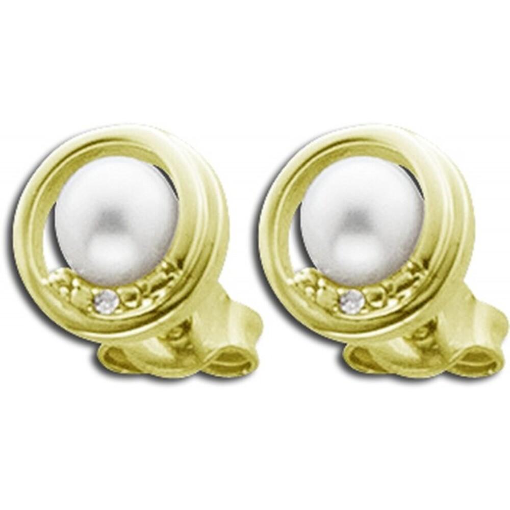 Perlenohrstecker Gelb Gold 585 weiße Süßwasserzuchtperlen Diamanten_01